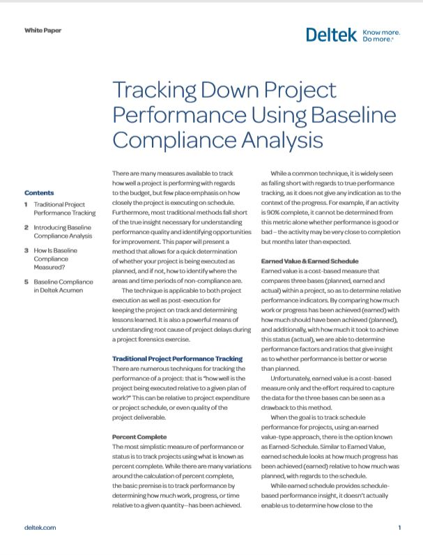Tracking Down Project Performance Using Baseline Compliance Analysis